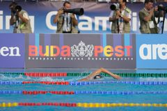 Go away from press. A swimmer go away from press photographers in LEN Budapest 2010 Stock Photos