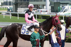 Go Beauty Go wins the Kowloon Peak Handicap in Hong Kong Stock Photography