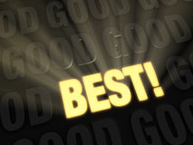 Go For The Best. Light rays shine out from a bright, gold BEST on dark background of GOOD Royalty Free Stock Photos