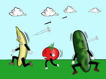 Go Bio Food. Hormone injections attacking natural fruit & vegetables royalty free illustration