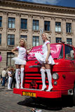 Go Blonde parade in Riga Stock Image