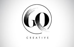 GO Brush Stroke Letter Logo Design. Black Paint Logo Letters Icon Royalty Free Stock Photo