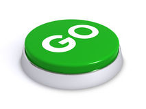 Go button. 3d render of a green go button over a white background Royalty Free Stock Photography