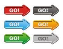 Go button sets - arrow buttons Stock Photography