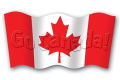 Go Canada flag. Canadian flag with Go Canada on it Royalty Free Stock Photography