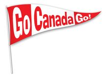 Go Canada Go! pennant. Red and white pennant with Go Canada Go! on it Stock Photos