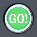 Go Car Start Green Button Word Move Forward. The word Go on a car start button to illustrate acceleration and movement forward toward a goal or to speed up for a vector illustration