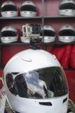 Go cart racing sport helmet with camera Stock Photos