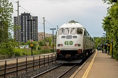 GO Train Stopped At Long Branch Station In Mississauga, Ontario