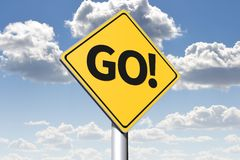 GO - conceptual roadsign... Stock Images