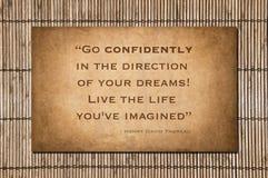 Go Confidently - Henry David Thoreau Stock Photo