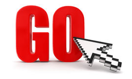 GO  and cursor (clipping path included) Stock Photo