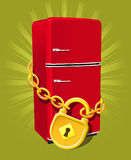 Go on diet!. Refrigerator with chain and lock - diet symbol Royalty Free Stock Photography