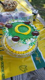 Go Ducks. Oregon Ducks Birthday Cake stuffed with fruit filling Stock Photography