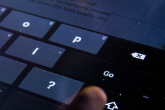 Go Enter Button Digital Keyboard Flat Keys Buttons Press Finger Black Stock Photography