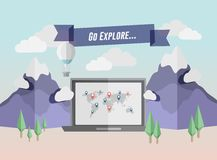 Go explore banner above laptop in mountain setting Stock Photos