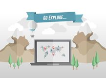 Go explore banner above laptop in mountain setting Royalty Free Stock Images
