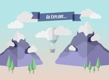 Go explore banner in mountain setting with hot air balloon Royalty Free Stock Image