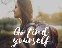 Go Find Yourself Aspirations Goal Success Concept. Girl wanderlust with go find yourself word stock image