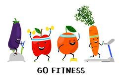 Go fitness vector concept. Happy sport fruit and vegetables. Healthy lifestyle illustration. Fruit characters, carrot and apple workout vector illustration