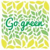 Go freen текст на зеленой предпосылке листьев Стоковая Фотография RF
