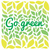 Go freen text on the green leaves background Royalty Free Stock Photography