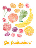 'Go fruitarian!' card. Colorful postcard with scratched fruits. Stock Photography