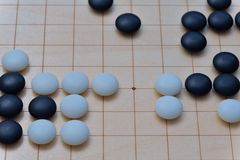 GO game. GO is an abstract strategy board game for two players, in which the aim is to surround more territory than the opponent Royalty Free Stock Images