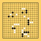 Go game board chinese vector. Play illustration China baduk. Strategy desk Stock Photography