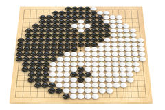 Go game concept, go stones forming yin yang symbol. 3D rendering. Go game concept, go stones forming yin yang symbol Royalty Free Stock Photo