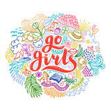 Go girls handrawn lettering with colorful flowers. Girl power. Feminism. Isolated on white background. Quote design Royalty Free Stock Image