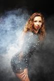 Go-go dancer in black dress Royalty Free Stock Photography
