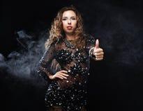 Free Go-go Dancer In Black Dress Stock Image - 33170591