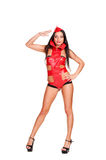 Go-go dancer in red stage costume Stock Image