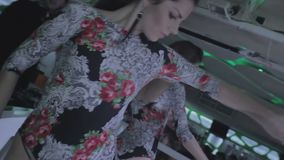 Go-go girls, DJ making best show for popular nightclub guests. Stock footage stock video footage