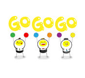 GO!GO!GO!. Three cheerleaders are holding color balls and shouting GOGOGO Stock Image
