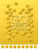 Go for gold. A graphic / digital images representing finance hinting on stock market trase in gold and currency Stock Images