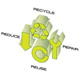Go green. Conceptual design for 4 ways to save the earth Stock Photography