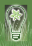 Go Green. Glowing light bulb, powered by renewable resources like plants, symbolized through a glowing flower within the bulb and surrounding grass Royalty Free Stock Image