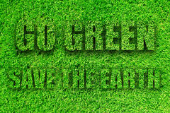 Go Green. A 3D illustration of a banner 'Go Green - Save the Planet', done in grass texture Stock Image