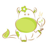 Go green. Moxy Patty the Cow went green, Vector Royalty Free Stock Image
