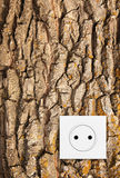 Go green. Electric socket in oak bark Stock Image