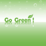 Go green. Abstract colorful illustration with the text go green written with green letters and a green leaf symbolizing the nature green Royalty Free Stock Images