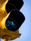 Go green. Bike lane go green signal light Stock Images