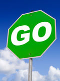 Go Green!. A close up on a GO sign. Would be great for eco-friendly advertising Royalty Free Stock Image