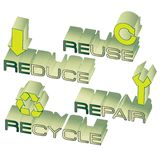Go green. Conceptual design for 4 ways to save the earth Royalty Free Stock Photos