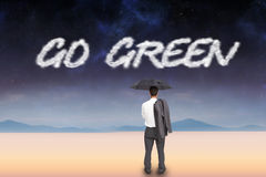 Go green against serene landscape Royalty Free Stock Photos