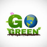 Go green banner logo design is have earth leaf and flower tree Stock Photos