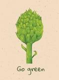 Go green. Beautiful green watercolor artichoke with go green text Stock Photo