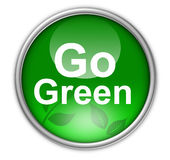 Go green button. Illustration of go green environmental button with leaves, isolated on white background Royalty Free Stock Photo